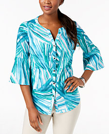 JM Collection Linen Bell-Sleeve Blouse, Created for Macy's