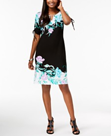 JM Collection Printed Ruched-Sleeve Dress, Created for Macy's