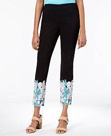 JM Collection Floral-Hem Pull-On Pants, Created for Macy's