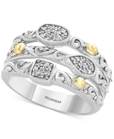 Balissima by EFFY® Diamond Stack-Look Cluster Ring (1/8 ct. t.w.) in Sterling Silver & 18k Gold