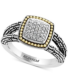 Balissima by EFFY® Diamond Cluster Ring (1/5 ct. t.w.) in Sterling Silver & 18k Gold