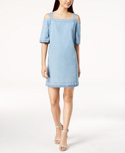 Calvin Klein Jeans Cotton Cold-Shoulder Denim Dress