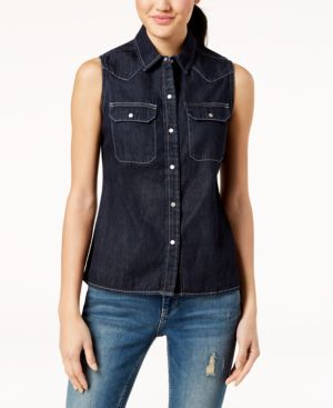 COTTON SLEEVELESS WESTERN SHIRT