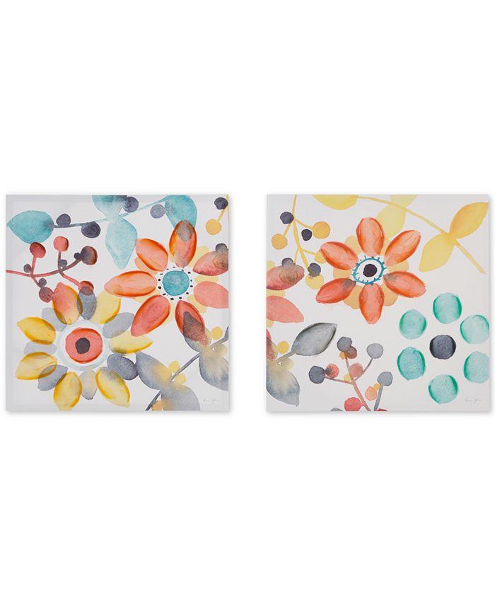 JLA Home - Intelligent Design Sweet Florals 2-Pc. Hand-Embellished Canvas Print Set