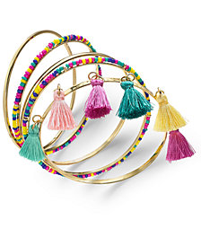 I.N.C. Gold-Tone 5 Pc. Set Polished, Wrapped & Tassel Bangle Bracelets, Created for Macy's
