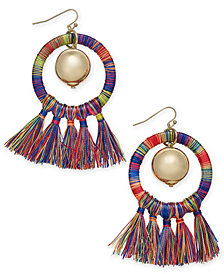 I.N.C. Gold-Tone Ball & Tassel Wrapped Drop Hoop Earrings, Created for Macy's