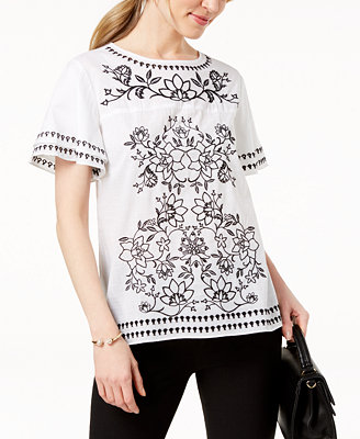 Cotton Embroidered Top, Created For Macy's by Charter Club