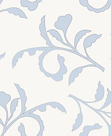 Cynthia Rowley for Tempaper Big Branch Light Blue & Ivory Self-Adhesive Wallpaper