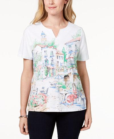 Alfred Dunner Scenic Café-Print T-Shirt