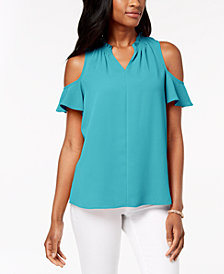 Charter Club Seamed Cold-Shoulder Top, Created for Macy's