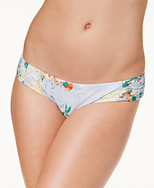Becca Femme Printed Shirred-Side Swim Bottoms