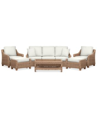 Willough Outdoor 6-Pc. Set (1 Sofa, 2 Club Chairs, 1 Coffee Table & 2 Ottomans), Created for Macy's