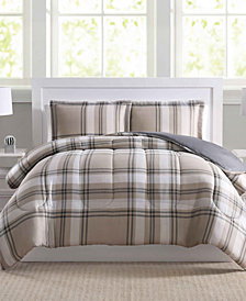 Basic Reversible Plaid Comforter Sets, Created for Macy's