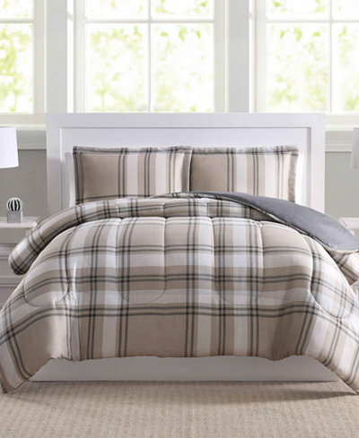 Basic Plaid 3-Pc. King Comforter Set, Created for Macy's