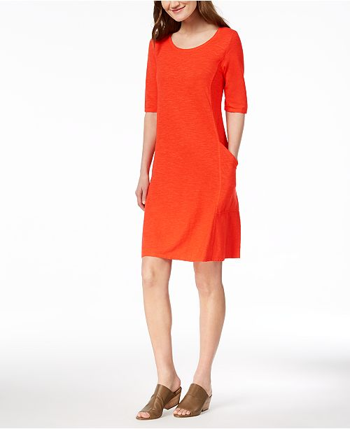 Organic Cotton Blend Elbow-Sleeve Dress, Created for Macy's
