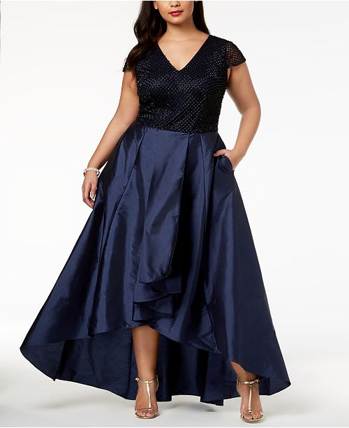 Adrianna Papell Plus Size Embellished High Low Gown Dresses