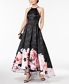 XSCAPE Floral-Print High-Low Gown