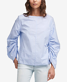 DKNY Cotton Balloon-Sleeve Striped Shirt