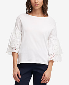 DKNY Cotton Eyelet Ruffle-Sleeve Top