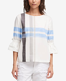 DKNY Cotton Plaid Blouse