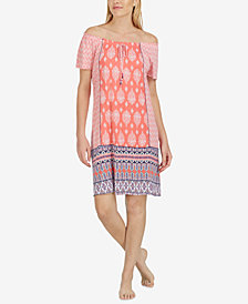 Ellen Tracy Off-The-Shoulder Printed Nightgown