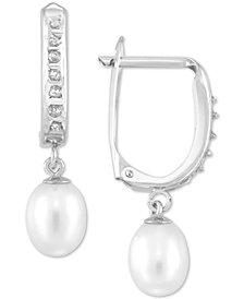 Diamond Fascination™ Cultured Freshwater Pearl (6mm) & Diamond Accent Hoop Earrings