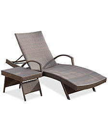 Hayden Outdoor Chaise Lounge and Table Set, Quick Ship