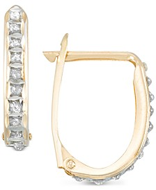 Diamond Accent Oval Hoop Earrings