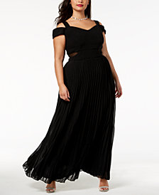 Xscape Plus Size Cold-Shoulder Pleated Gown