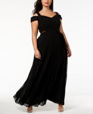 Xscape Plus Size Cold-Shoulder Pleated Gown