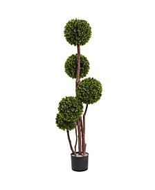 4' Boxwood UV-Resistant Indoor/Outdoor Topiary Tree