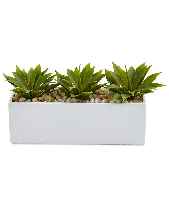 Nearly Natural Agave Artificial Succulents in Rectangular Planter