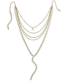 "I.N.C. Gold-Tone Colored Stone Multi-Row Y Necklace, 12"" + 3"" extender, Created for Macy's"