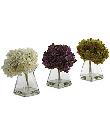Nearly Natural 3-Pc. Hydrangea Set with Vases