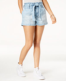 Tinseltown Juniors' Paper-Bag Denim Shorts