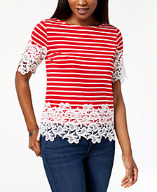 Tommy Hilfiger Lace-Trim Top, Created for Macy's