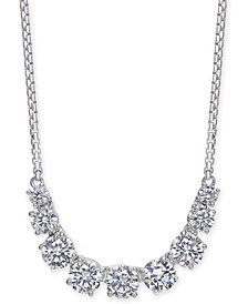 "Danori Silver-Tone Crystal Statement Necklace, 14"" + 4"" extender, Created for Macy's"