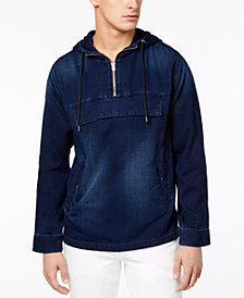 GUESS Men's Denim Anorak Hoodie