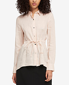 DKNY Linen Tie-Waist Blouse, Created for Macy's