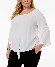 JM Collection Plus Size Tie-Front Top, Created for Macy's