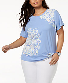Tommy Hilfiger Plus Size Medallion-Print Top, Created for Macy's