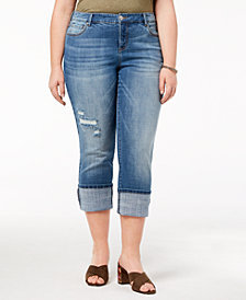 I.N.C. Plus Size Cuffed Jeans, Created for Macy's