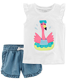 Carter's 2-Pc. Cotton Flamingo Top & Cotton Denim Shorts Set, Toddler Girls