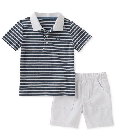 Calvin Klein 2-Pc. Striped Polo & Shorts Set, Baby Boys