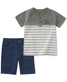 Calvin Klein 2-Pc. Henley T-Shirt & Shorts Set, Baby Boys