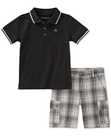 Calvin Klein 2-Pc. Polo & Plaid-Print Shorts Set, Baby Boys