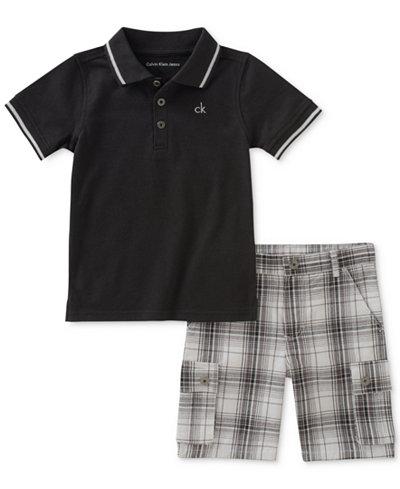 Calvin Klein 2-Pc. Polo & Plaid-Print Shorts Set, Baby Boys