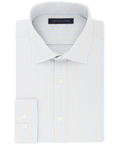 Tommy Hilfiger Flex Athletic Fit Stretch Moisture Wicking Performance Stripe Dress Shirt