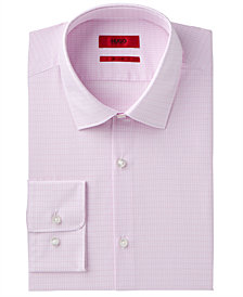 HUGO Men's Slim-Fit Light Pink Check Dress Shirt