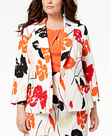 Kasper Plus Size Printed One-Button Blazer